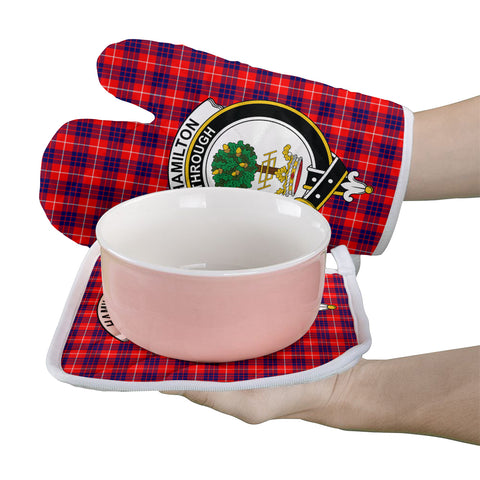 Image of Hamilton Modern Clan Crest Tartan Scotland Oven Mitt And Pot-Holder (Set Of Two)