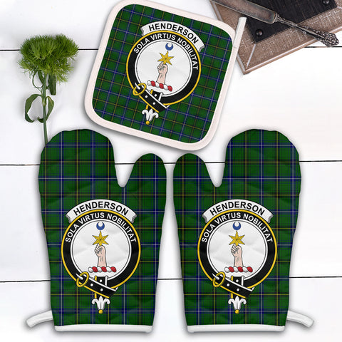 Image of Henderson Modern Clan Crest Tartan Scotland Oven Mitt And Pot-Holder (Set Of Two)