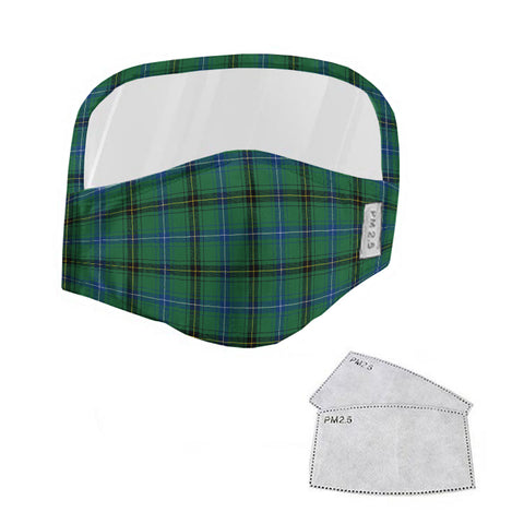 Henderson Ancient Tartan Face Mask With Eyes Shield - Green  Plaid Mask TH8