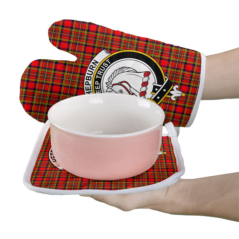 Hepburn Clan Crest Tartan Scotland Oven Mitt And Pot-Holder (Set Of Two)