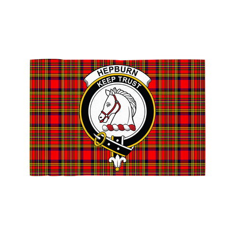 Image of Hepburn Clan Crest Tartan Motorcycle Flag