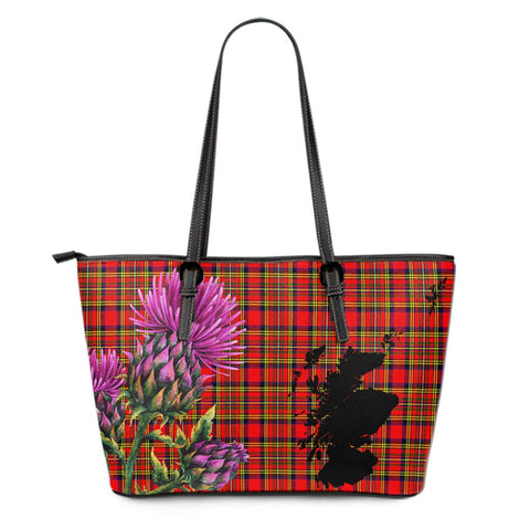 Hepburn Tartan Leather Tote Bag Thistle Scotland Maps A91