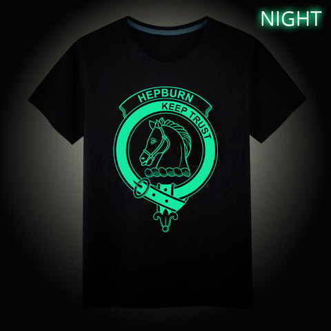 Hepburn Crest Scottish Clan Luminous T shirt