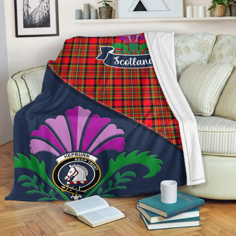 Hepburn Crest Tartan Blanket Scotland Thistle | Tartan Home Decor | Scottish Clan