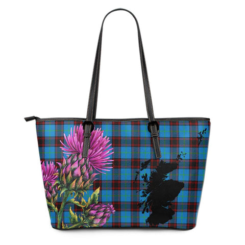 Home Ancient Tartan Leather Tote Bag Thistle Scotland Maps A91
