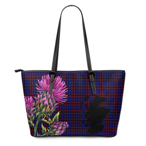 Home Modern Tartan Leather Tote Bag Thistle Scotland Maps A91