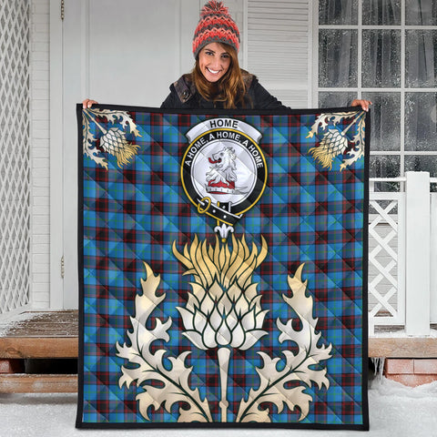 Image of Home Ancient Clan Crest Tartan Scotland Thistle Gold Royal Premium Quilt