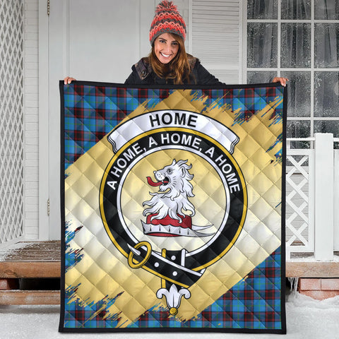 Image of Home Ancient Clan Crest Tartan Scotland Gold Royal Premium Quilt