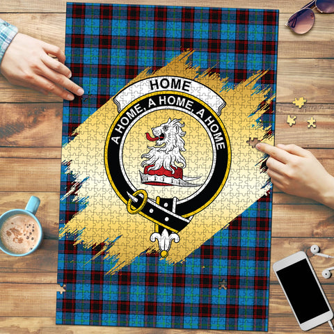 Home Ancient Clan Crest Tartan Jigsaw Puzzle Gold