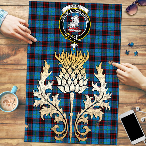Home Ancient Clan Crest Tartan Thistle Gold Jigsaw Puzzle