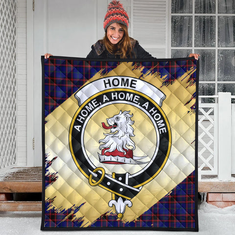 Home Modern Clan Crest Tartan Scotland Gold Royal Premium Quilt