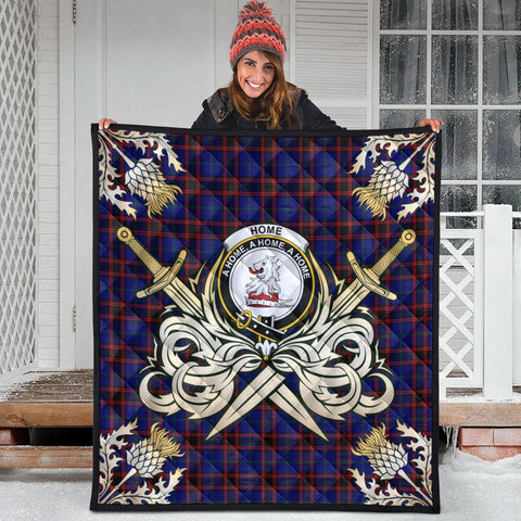 Home Modern Clan Crest Tartan Scotland Thistle Symbol Gold Royal Premium Quilt