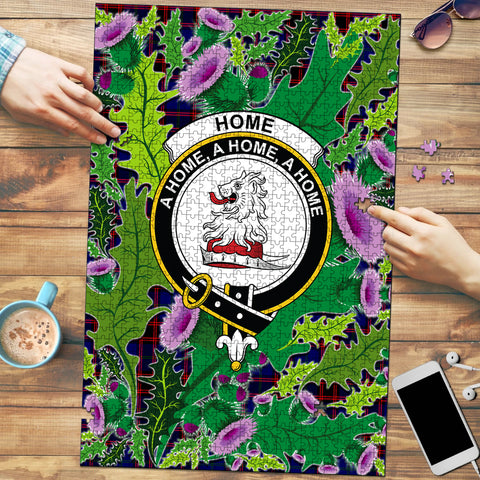 Image of Home Modern Clan Crest Tartan Thistle Pattern Scotland Jigsaw Puzzle