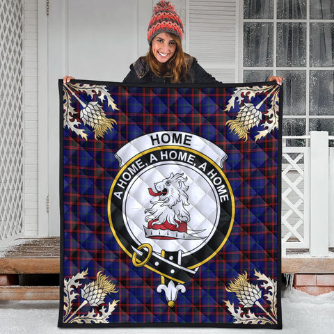 Image of Home Modern Clan Crest Tartan Scotland Thistle Gold Pattern Premium Quilt