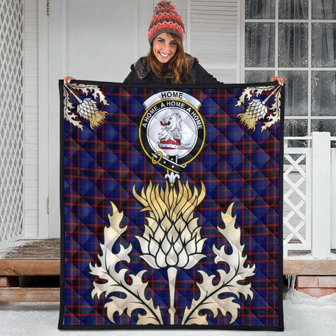 Home Modern Clan Crest Tartan Scotland Thistle Gold Royal Premium Quilt