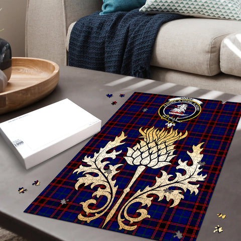 Image of Home Modern Clan Crest Tartan Thistle Gold Jigsaw Puzzle