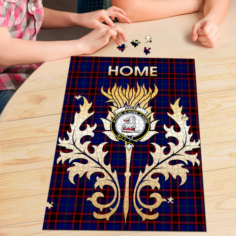 Home Modern Clan Name Crest Tartan Thistle Scotland Jigsaw Puzzle
