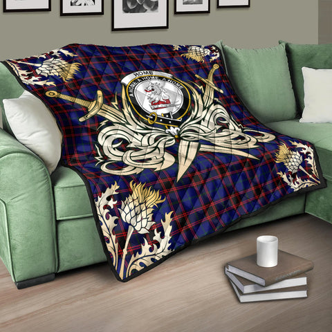 Home Modern Clan Crest Tartan Scotland Thistle Symbol Gold Royal Premium Quilt K9