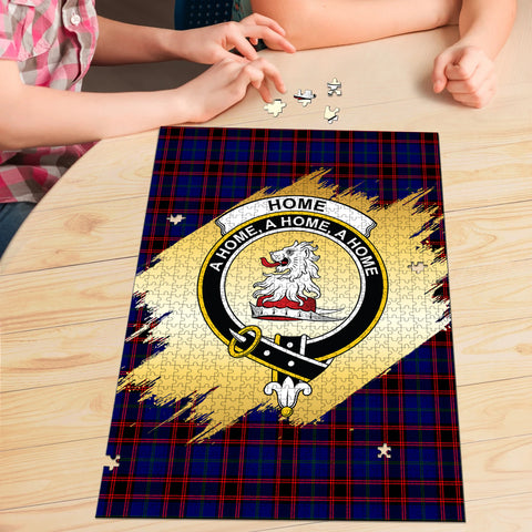 Image of Home Modern Clan Crest Tartan Jigsaw Puzzle Gold