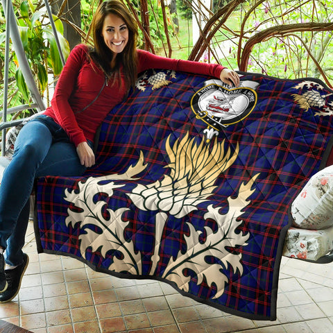 Home Modern Clan Crest Tartan Scotland Thistle Gold Royal Premium Quilt K9