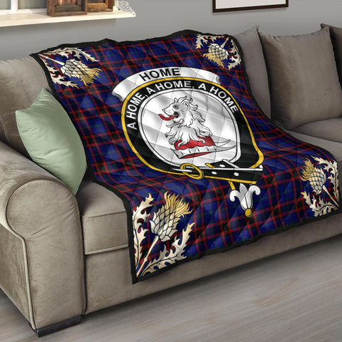 Image of Home Modern Clan Crest Tartan Scotland Thistle Gold Pattern Premium Quilt K9