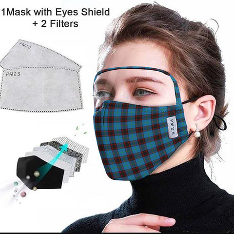 Home Ancient Tartan Face Mask With Eyes Shield - Blue  Plaid Mask TH8