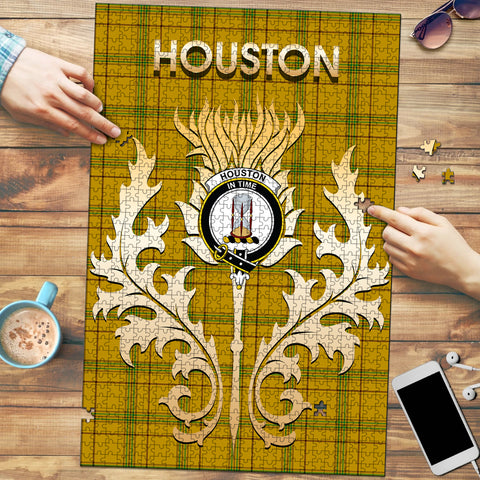 Houston Clan Name Crest Tartan Thistle Scotland Jigsaw Puzzle