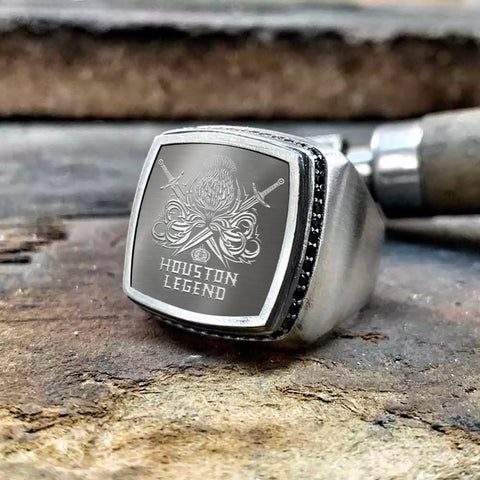 Houston Scottish Clan Name Legend Special Silver Ring