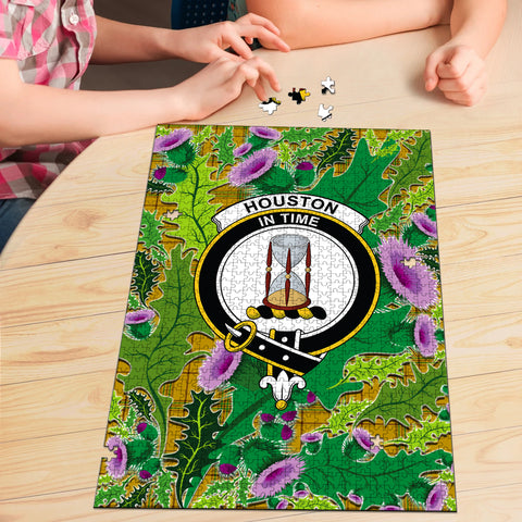 Houston Clan Crest Tartan Thistle Pattern Scotland Jigsaw Puzzle