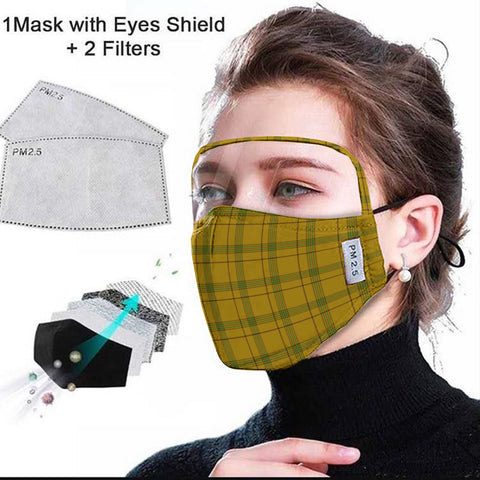 Houston Tartan Face Mask With Eyes Shield - Yellow  Plaid Mask TH8