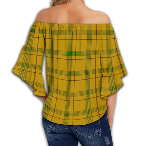 Houston Tartan Crest Off Shoulders Wrap Waist Top