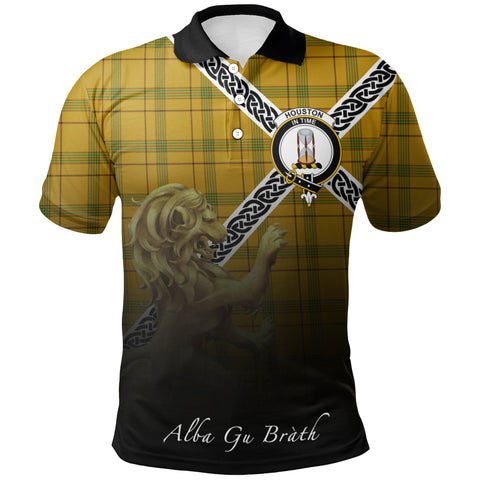 Houston Polo Shirts Tartan Crest Celtic Scotland Lion A30