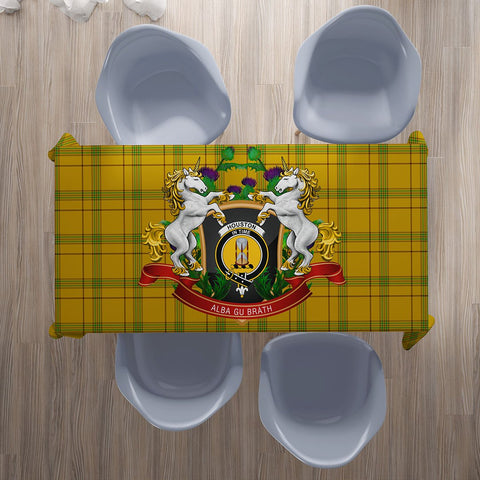 Houston Crest Tartan Tablecloth Unicorn Thistle | Home Decor
