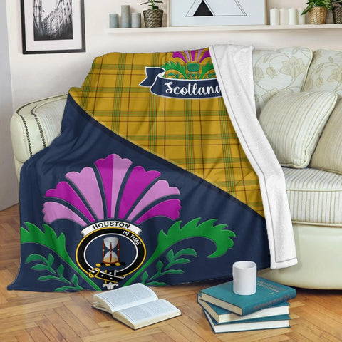Houston Crest Tartan Blanket Scotland Thistle | Tartan Home Decor | Scottish Clan