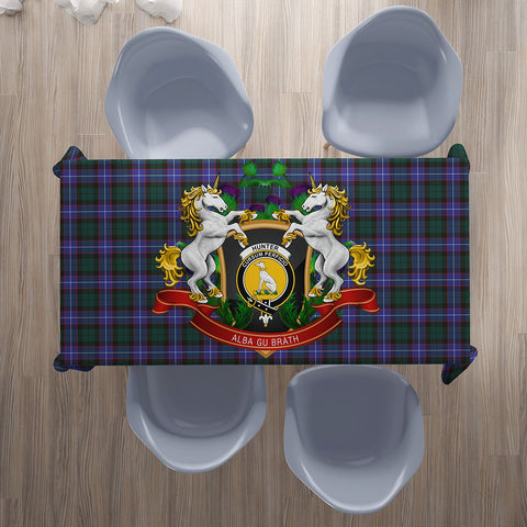 Image of Hunter Modern Crest Tartan Tablecloth Unicorn Thistle | Home Decor