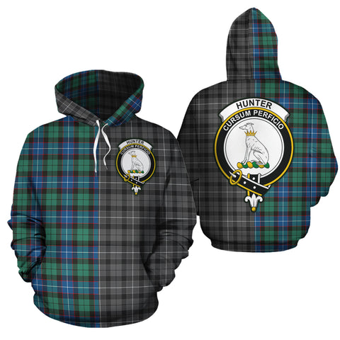 Hunter Ancient Clan Half Of Me New Version Crest Tartan Hoodie