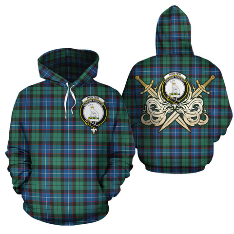 Hunter Ancient Clan Crest Tartan Scottish Gold Thistle Hoodie