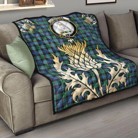 Hunter Ancient Clan Crest Tartan Scotland Thistle Gold Royal Premium Quilt K9
