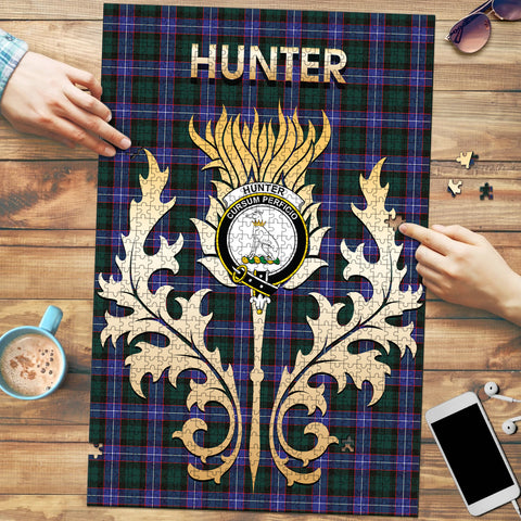 Hunter Modern Clan Name Crest Tartan Thistle Scotland Jigsaw Puzzle