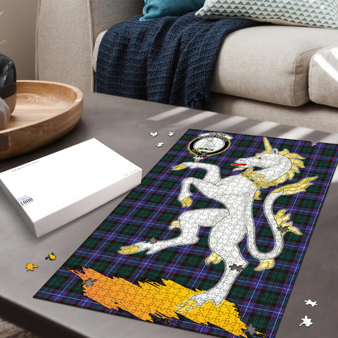 Image of Hunter Modern Clan Crest Tartan Unicorn Scotland Jigsaw Puzzle