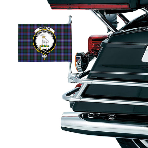 Image of Hunter Modern Clan Crest Tartan Motorcycle Flag