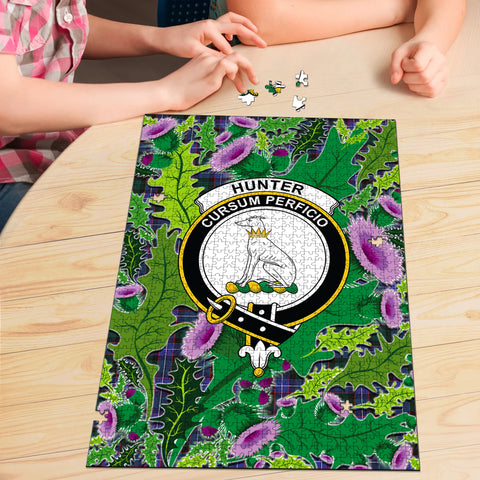 Hunter Modern Clan Crest Tartan Thistle Pattern Scotland Jigsaw Puzzle