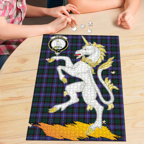 Hunter Modern Clan Crest Tartan Unicorn Scotland Jigsaw Puzzle