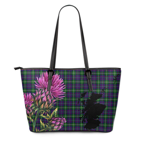 Inglis Modern Tartan Leather Tote Bag Thistle Scotland Maps A91