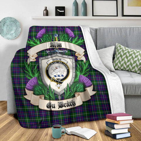 Image of Inglis Modern Crest Tartan Blanket Thistle  | Tartan Home Decor | Scottish Clan
