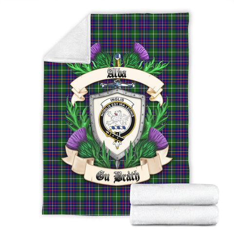 Inglis Modern Crest Tartan Blanket Thistle  | Tartan Home Decor | Scottish Clan