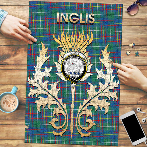 Image of Inglis Ancient Clan Name Crest Tartan Thistle Scotland Jigsaw Puzzle