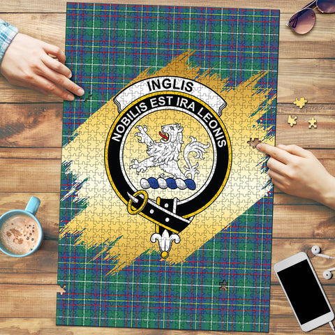 Inglis Ancient Clan Crest Tartan Jigsaw Puzzle Gold