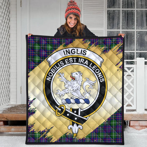 Image of Inglis Modern Clan Crest Tartan Scotland Gold Royal Premium Quilt
