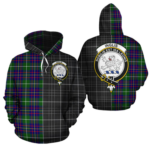 Inglis Modern Clan Half Of Me New Version Crest Tartan Hoodie
